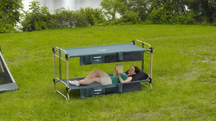 Disc-o-bed Adult Camping Bunk Bed Cot - Camping bunk bed turns into a sofa during the day