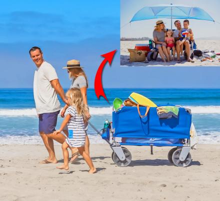 This 3-in-1 Beach Wagon Turns Into a Two-Person Beach Chair With an Umbrella