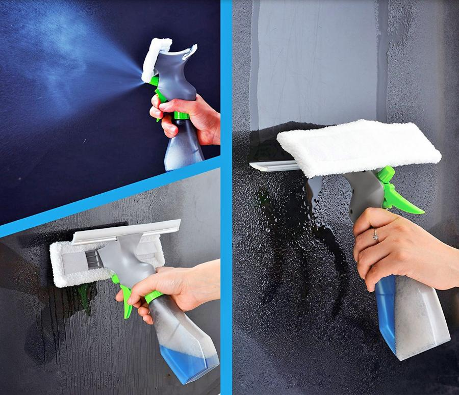 3 In 1 Window Cleaner With Spray Bottle Wiper And Squeegee