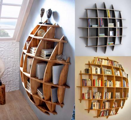 This 3D Sphere Bookshelf Looks Like It's Sinking Into Your Wall