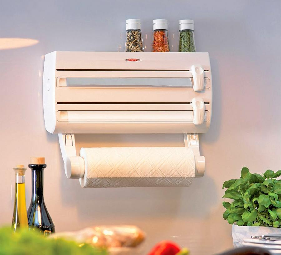 4 In 1 Roll Holder For Plastic Wrap Tinfoil And Paper Towels