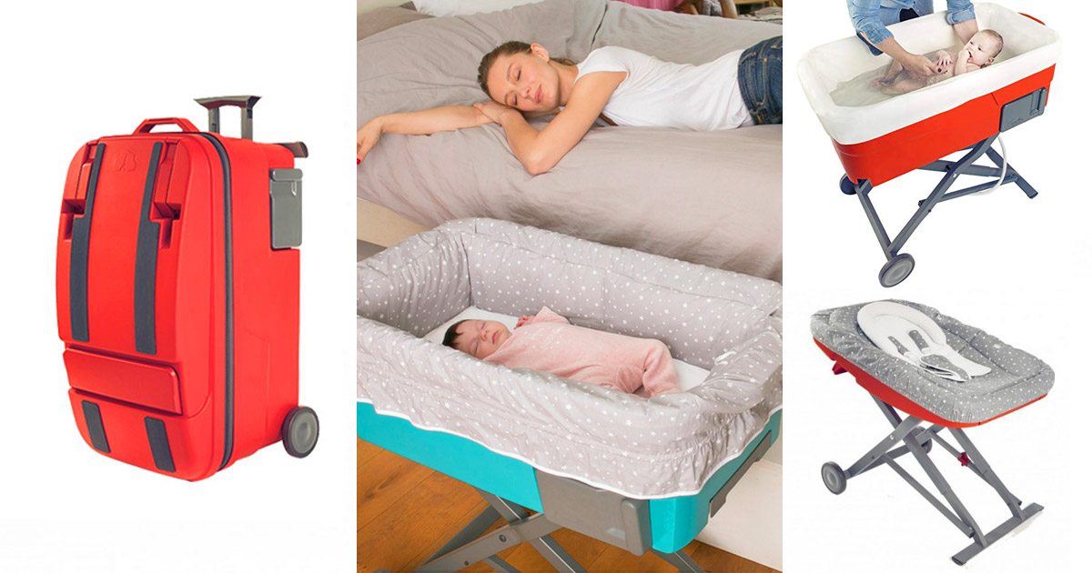6-in-1 Ultimate Newborn Luggage, Turns Into a Rocker, Bassinet, Bathtub, Changing Table