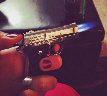 9MM Hand Gun Lighter With Dual Flame