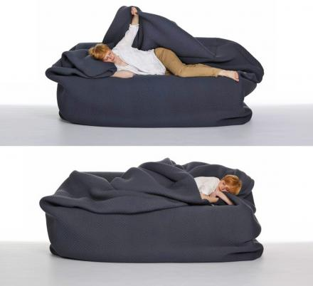 A Bean Bag Bed With Built In Blanket, Bean Bag Queen Bed