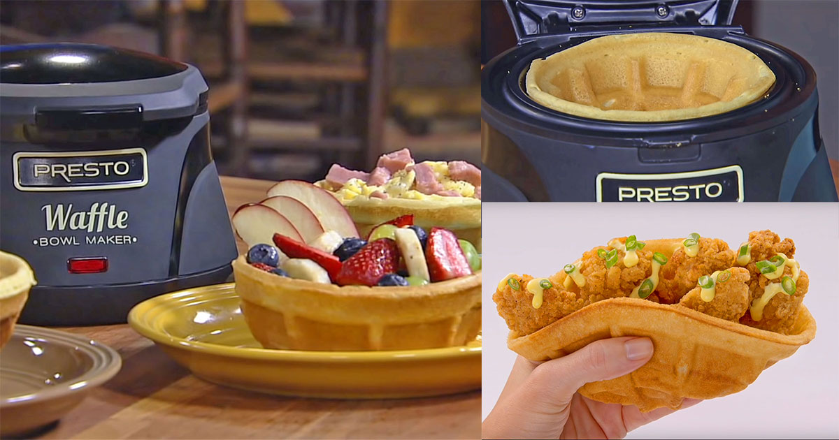 A Waffle Iron That Makes Delicious, Edible Waffle Bowls - Genius