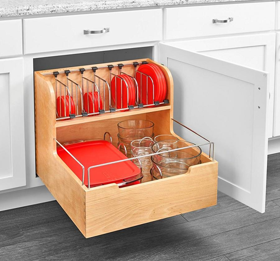 adjustable pull out cabinet drawer for organizing your tupperware. Black Bedroom Furniture Sets. Home Design Ideas