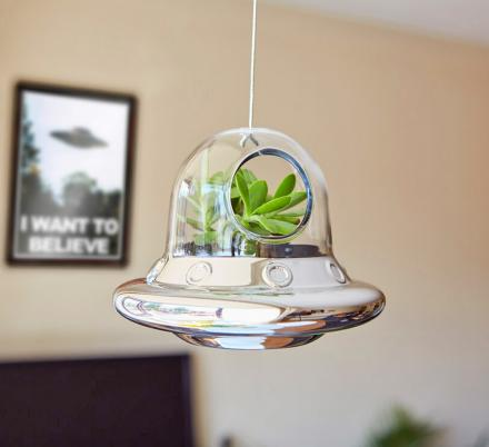 Alien Invasion Flying Saucer Hanging Air Plant Holder