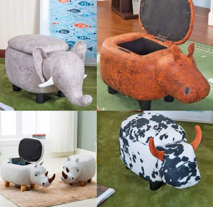 These Super Cute Animal Storage Ottomans Can Hold Books or Toys Inside of Them