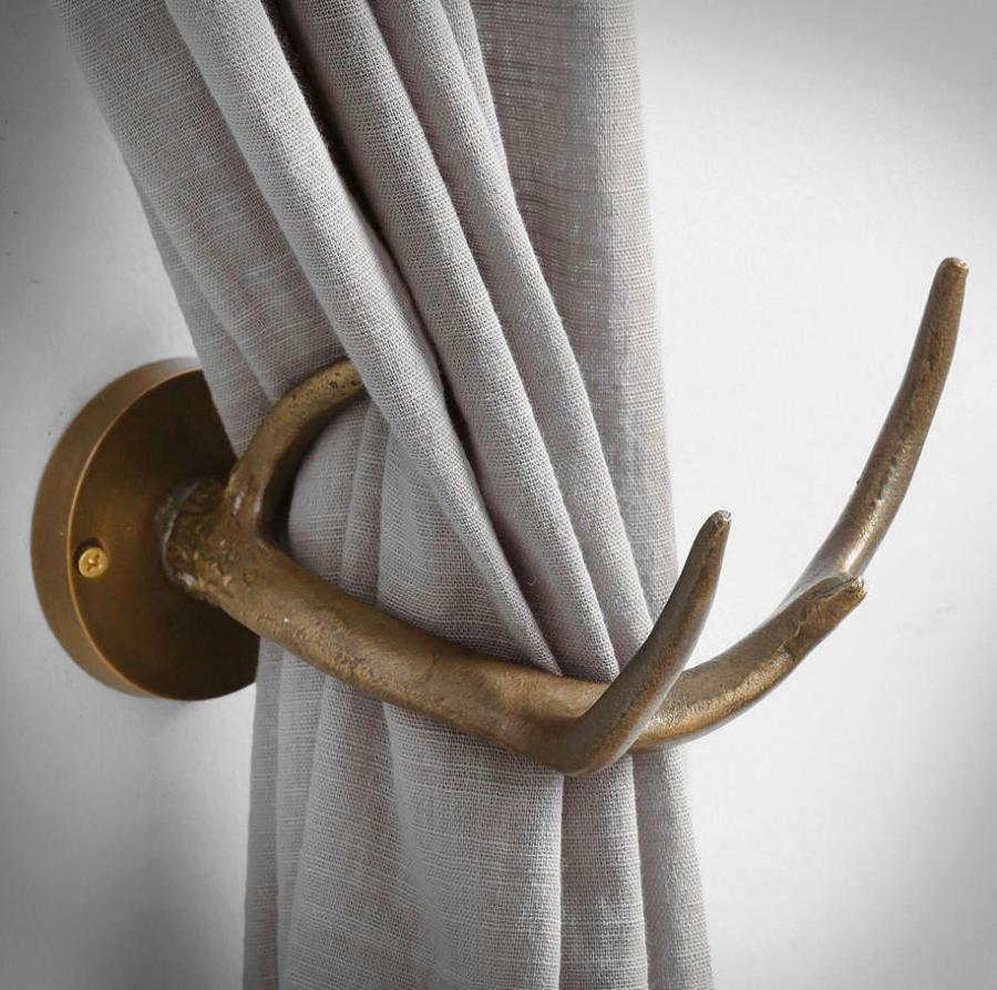 Every Hunting Lover Probably Needs These Faux Deer Antler Curtain Tiebacks