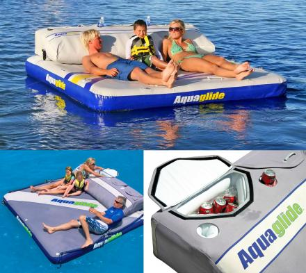 This Giant Inflatable Mattress Float Has An Integrated Cooler To Hold Your Drinks While Your Relax