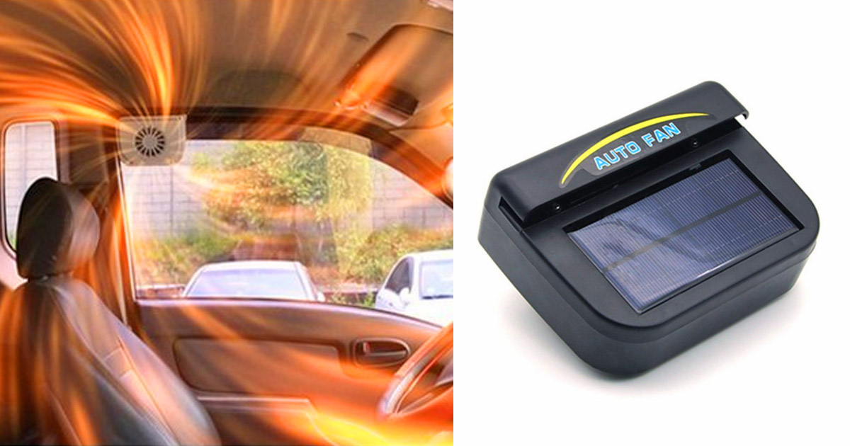 This Genius Solar Powered Fan Sucks The Hot Air Out Of Your Car On Hot Summer Days
