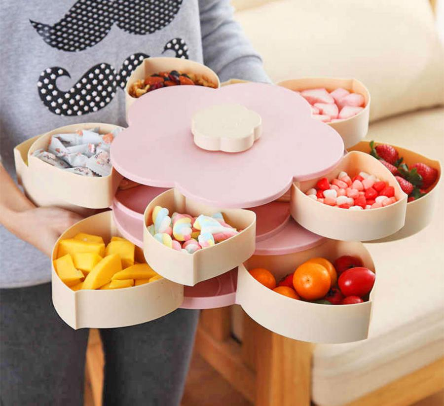 Automatic Flower Petal Snack Holder Holds 10 Different