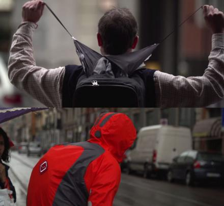 Backpack That Ejects Into A Rain Jacket