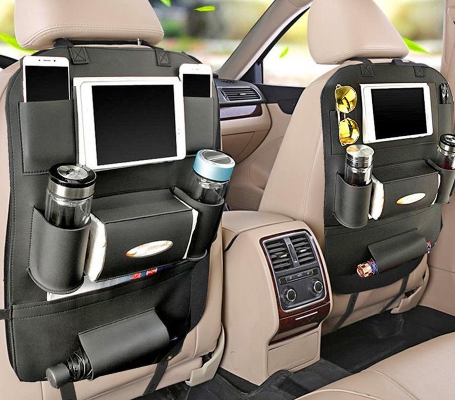 backseat car organizer holds tablets drinks tissues and more. Black Bedroom Furniture Sets. Home Design Ideas