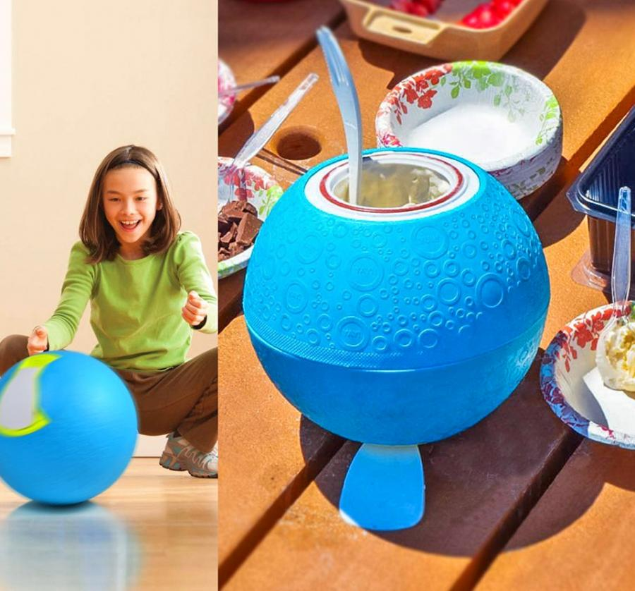 Ball Shaped Ice Cream Maker, Makes Ice Cream By Just