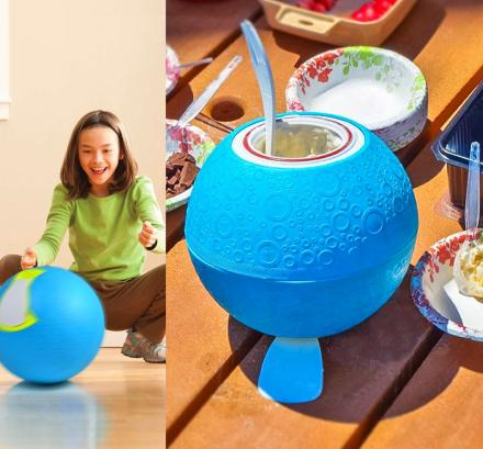 Ball Shaped Ice Cream Maker, Makes Ice Cream By Just Playing With It