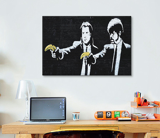 Banksy \'Pulp Fiction Bananas\' Stretched Canvas Art