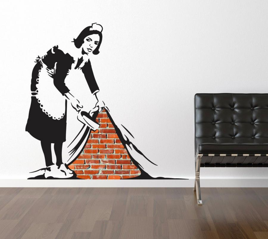 Banksy Sweep It Under The Rug Wall Decal Enlarge Image  sc 1 st  Odditymall & Banksy Sweep It Under The Rug Wall Decal