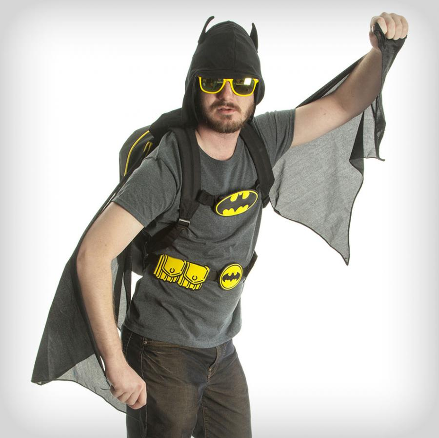 Hooded Batman Backpack With Wings and Utility Belt Enlarge Image c6831f681770a