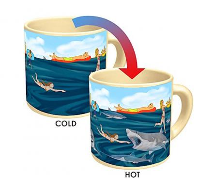 Beach Shark Attack Heat Changing Coffee Mug