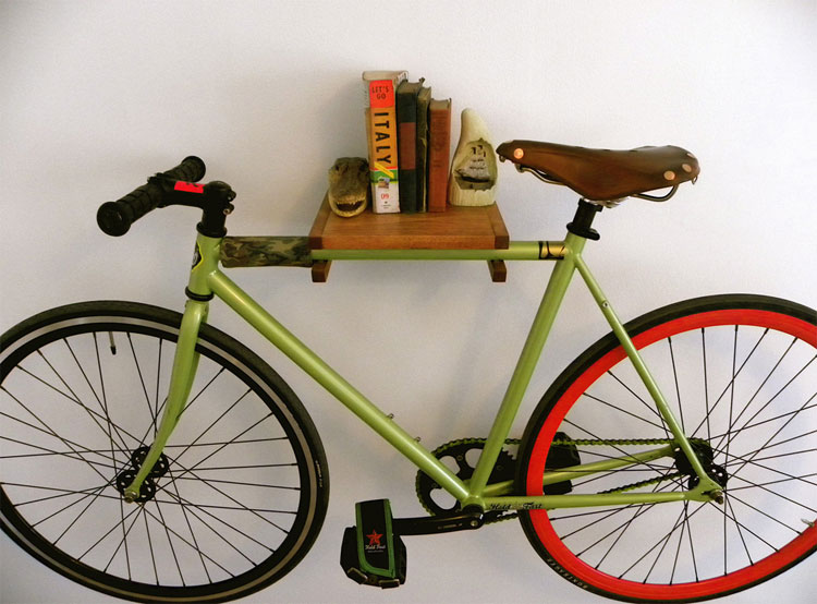 Urban Bike Holder Shelf: bicycle bookshelf