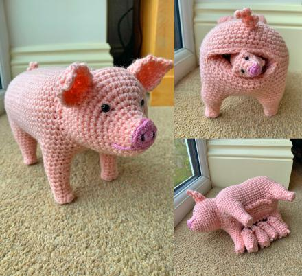 This Crochet Pattern Lets You Create A Birthing Pig That Feeds Its Piglets