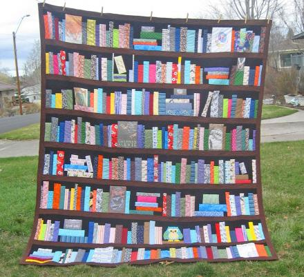 You Can Get a Bookcase Quilt Customized With Your Favorite Books and Hobbies On The Shelves