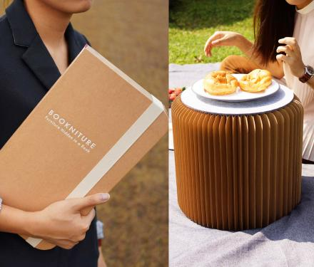 Bookniture: A Book That Unfolds To Make A Table or Chair