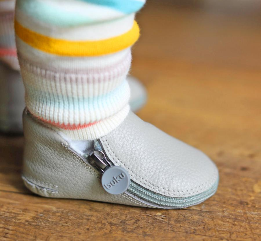 Buku Zip-Up Leather Baby Shoes