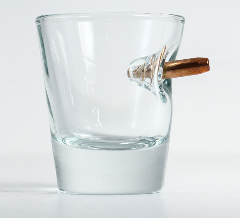 Bulletproof Shot Glass Has A Bullet Stuck In The Glass