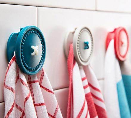 Button Up: A Magnetic Bathroom Towel Holder, Looks Like a Button
