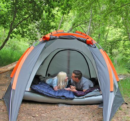 Camping Tent With An Inflatable Mattress Built In To The Bottom