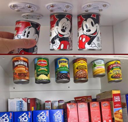 CanLoft: Magnetic Canned Food Hangers Save Space In Your Pantry