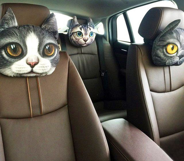 Big Kid Car Seat >> Cat and Dog Headrest Pillows For Your Car