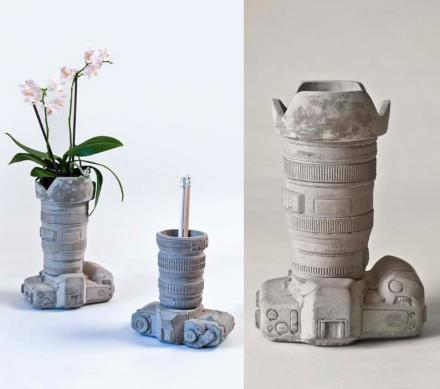 Cement Camera Shaped Vase or Desk Organizer