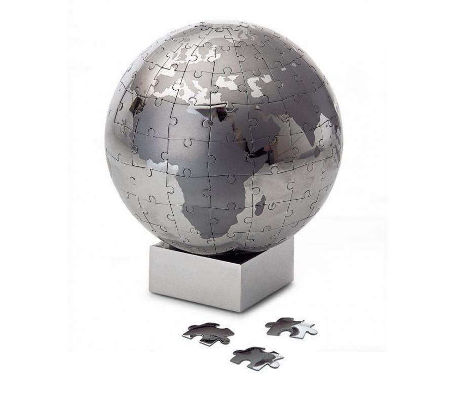 Chrome Magnetic Globe Puzzle