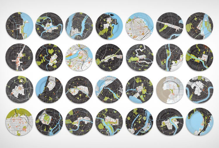 City Map Dinner Plates
