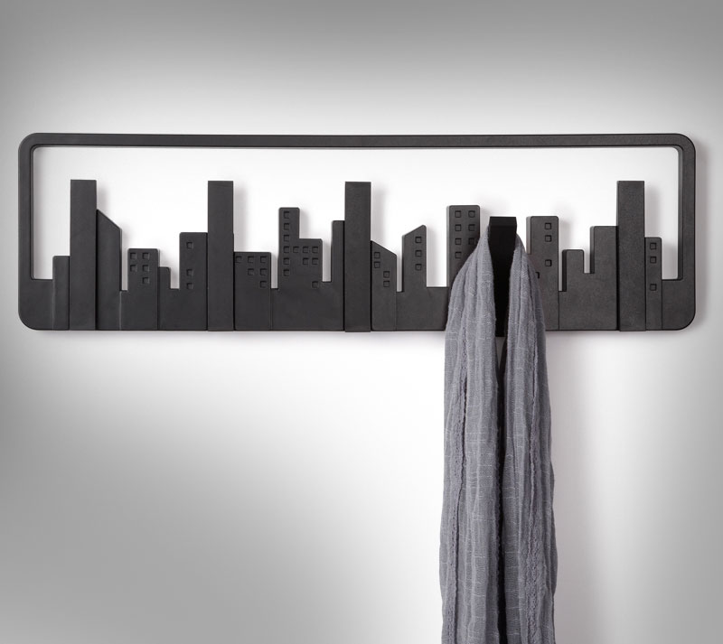City skyline coat hooks for Cool wall hook ideas