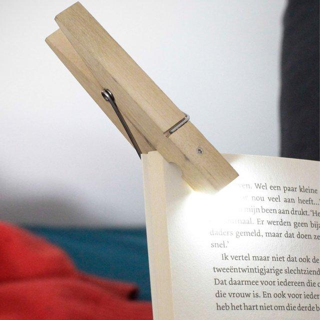 Clothespin Book Clip Reading Light