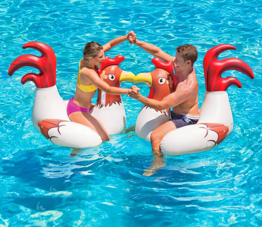 Cock Fighting Floating Chicken Fight Pool Toys 2 Pack