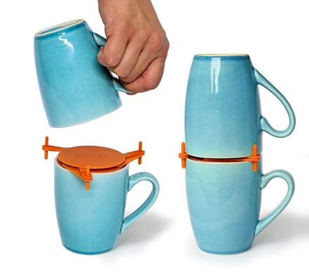 Coffee Mug Organizers Help Stack Unstackable Mugs and Cups