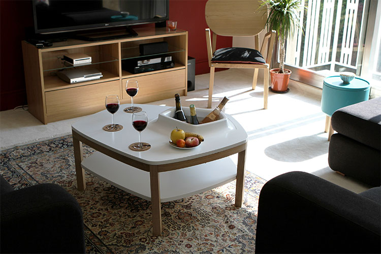 Coffee Table With Built In Ice Bucket-6223