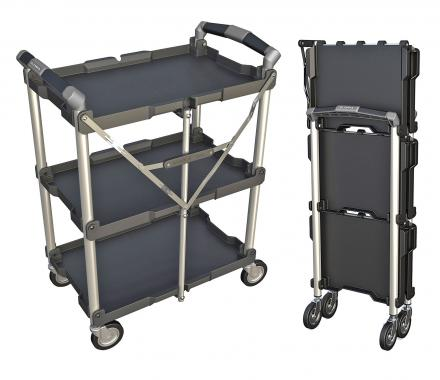 Collapsible Service Cart Folds Down To Just 8 Inches Wide