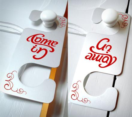 Come In Go Away Ambigram Door Hanger