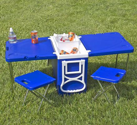 Cooler With Fold-out Table and Chairs - Mini Picnic Table Cooler