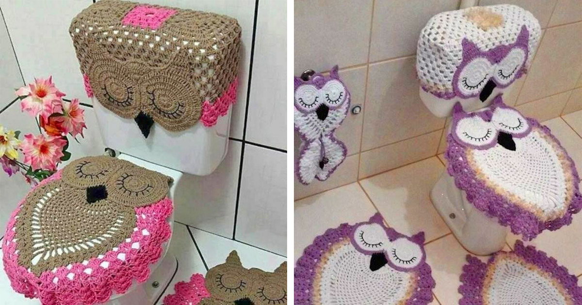 This Crochet Owl Bathroom Set Turns Your Toilet Into an Owl
