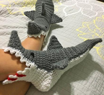 These Crochet Shark Bite Slippers Look Like They're Attacking Your Feet