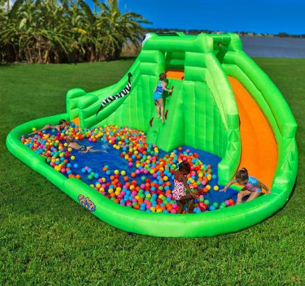 Crocodile Isle Inflatable Water Park with Dual Slides and Ball Pit Splash Pool
