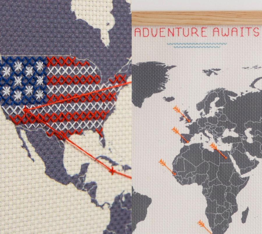 Cross Stitch Map Lets You Record Your Travels In Your Own Unique Way