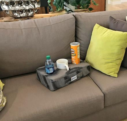 Cup Cozy Pillow Securely Holds Your Drinks On The Couch